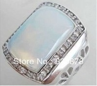 White Fire Opal Silver Men's Rings Size: 8.9.10.11 #001fashion jewelry
