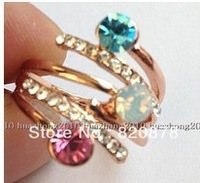 fashion! Natural crystal, zircon Yellow Gold Filled Ring Women 7#8# Y12fashion jewelry