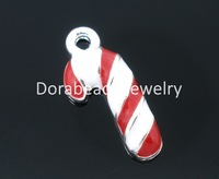 Free Shipping! 20 PCs Silver Plated Enamel Christmas Candy Cane Charms Pendants 19x8mm (B04628)