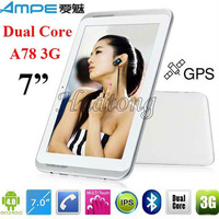 "hot sell 7"" Ampe A78 Dual Core3G phone tabelt built in GPS IPS screen Android 4.0 MSM8225 1.2GHz WiFi buletooth"