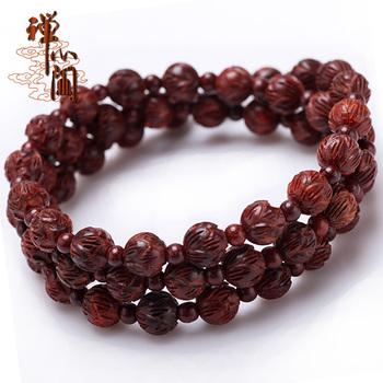Индия очаговая красного сандалового дерева резные лотоса бисера браслет браслеты 8 мм четки женщин любителей дизайна.