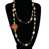 Small necklace luxury vintage royal sparkling diamond colored glaze pearl necklace long necklace dollarfish