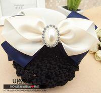 Hostess Clerk hair accessory blue Rhinestone Butterfly bow string net  bag hair Clip Hair Flower