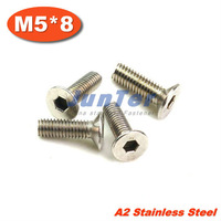 100pcs/lot DIN7991 M5*8 Stainless Steel A2 Flat Socket Head Cap Screw