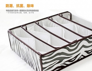 Advanced charcoal zebra print bra underwear storage box bra storage box drawer partitions storage box