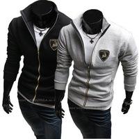 Free Shipping 2014New Men's Jackets Letter Jacket Hot Men's Casual Coat/Men's Hoodie Color:black,Gray Size:M-L-XL-XXL