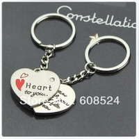 Free shipping heart couple key chain pendant couple jewelry wedding gift keyring wholesale