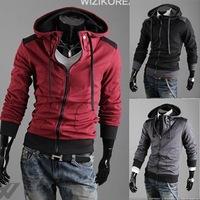 Free Shipping Men's Stylish Slim Dark Gray Fitted Designed Hoodies Coat Jacket Sweatshirt 2014male hoodies