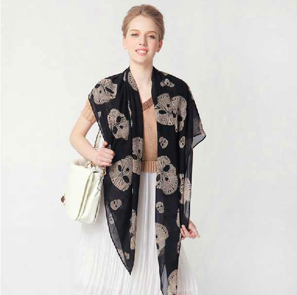 2014 NEW Arrival Fashion big skull skeleton chiffon scarf women wrap shawl wholesale black beige color(China (Mainland))