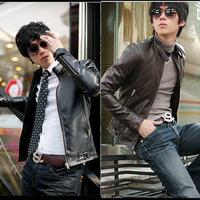 2014 men'sleather jacket Korean catwalks shall Slim leather jacket PU (black, brown) high quality M-XXL
