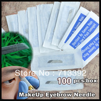 Free Shipping 100pcs stainless steel Permanent Makeup Manual eyebrow tattoo needles blade