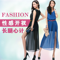 2013 summer women's o-neck sleeveless tank dress sexy fashion placketing full dress high waist one-piece dress