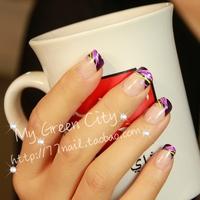 Free Shipping, 2014 New Arrival Elegant Lady French False Nail/Fake Nail/Nail Tips,24 pcs with glue
