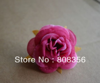 100pcs Hot Pink Colour Dia.6cm Artificial Open Rose Camellia Flower Heads with Leave Wedding Chistmas Party Decoration