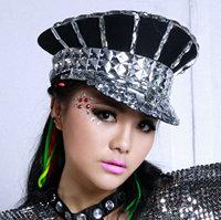 Fashion star rhinestone military hat female singer ds costume costumes all-match cap