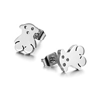 Wholesale\Retail! 10mm*8mm 3g Gentle Stainless Steel Silver Little Bear Stud Earrings For Women/Girl, Lowest Price Best Quality