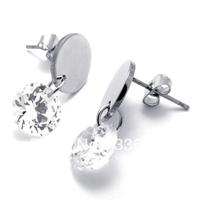 EA119983 Womens White CZ Silver Tone Stainless Steel Studs Earrings
