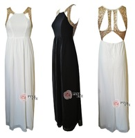 Free shoping NEW ARRIVALS Fashion gold sequined halter chiffon maxi dress party dress TB 5130