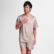 Mulberry silk heavy silk sleepwear male short-sleeve top shorts set 1086(China (Mainland))