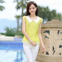 2013 summer short-sleeve color block pointed collar cutout peter pan collar shirt chiffon shirt 1353