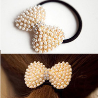 fashion exquisite pearl rhinestone bow hair accessory headband hair rope