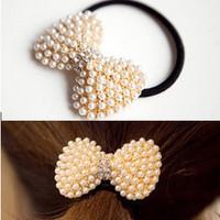fashion exquisite pearl rhinestone bow hair accessory headband hair rope