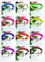 Wholesale Fashion New Style Neon Beads Bracelet Crystal Cross Shamballa disco ball Mixed Color