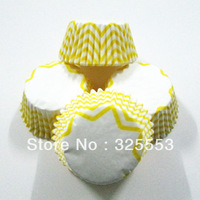 100pcs Yellow Chevron cupcake liners paper cup decoration