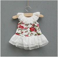 Baby girls dress hot sale summer girls flower sundress kids cute print floral dress fashion lace dress children wholesale 6PCS
