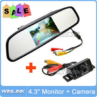 2013 New IR LED Night Vision Car Rear View Camera With 4.3 inch Color LCD Car Mirror Monitor Free Shipping