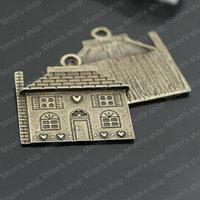 Wholesale 10 pieces 30*25mm Antique Bronze Love house Alloy Flat Charm Findings/Accessories  (J-M3456)