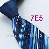 Coachella Men's ties New design Navy Knot Contrast Royal Blue Stripe Woven Necktie Formal Neck Tie to match dress shirts Wedding