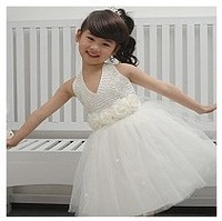 Female child bridesmaid princess flower girl dress wedding dress performance wear infant child evening dress white costume