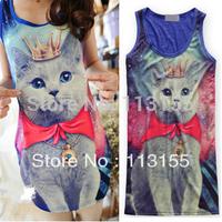 2013 New Fashion Galaxy Prince Crown Cat Tight Dress Women Vests Long Shirt Tops Vest Fashion Women's