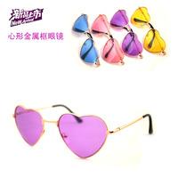 New arrival Fashion  unique heart metal frame color film sunglasses glasses HARAJUKU soft