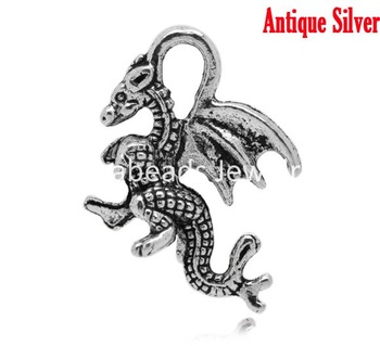 Free Shipping! 50 Silver Tone Winged Dragon Charm Pendants 21x14mm (B15017)