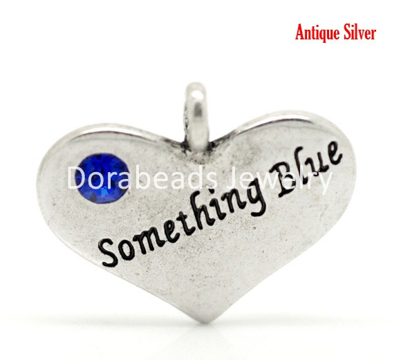 "Free Shipping! Antique Silver Blue Rhinestone ""Something Blue"" Heart Charm Pendants 22x18mm,20pcs (B17137)(China (Mainland))"
