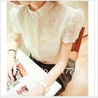 Women's Style White Chiffon shirt shirt collar stitching chiffon blouse Lace Chiffon shirt