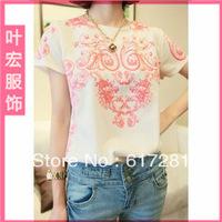 Tee straight wave pattern loose short-sleeved T-shirt ladies T-shirt bottoming shirt