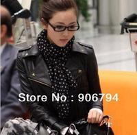 New spring 2013 han edition of rivet leisure coat lapel zipper punk female locomotive pu leather coat