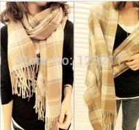 210*64cm Autumn and Winter Women's Yarn Muffler Scarf Cape Dual-use Ultra Long Plaid Scarf Free shipping