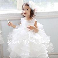 girls dress Children princess dress kids  formal dress puff flower white small bride  gift