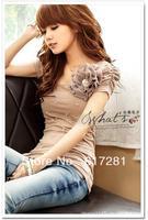 Hot sales - flowered dress elegant gorgeous flowers pearl mounted ladies T-shirt