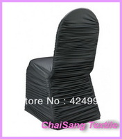 100pcs Free Shipping Black Ruffled Lycra Chair Cover  ,Lycra chair cover for wedding event &Party Decoration