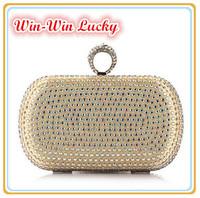 New 2014 Women's Handbag Color Diamond Polyester Hard Box Ring Bride Clutch Shoulder Messenger Evening Bag Blue Silver Gold