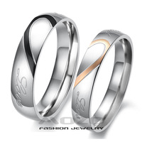 Fashion Jewelry 316L Stainless Steel Rings Silver Half Heart Simple Circle Love Couple Ring Wedding Rings Engagement Rings GJ284