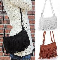 Hot Sale!! Womens Tassle Tassel Fringe Faux Suede Shoulder Messenger Crossbody Bag Handbag Purse Black Brown White