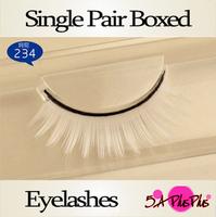 Wholesale 5 Box/Lot Single Pair Boxed Natural Long Hand Made White Color False Eyelashes Top Eye Lashes Makeup Free Shipping