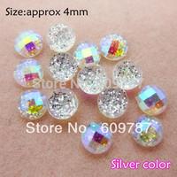 Free Shipping-4*4mm round silver 200pcs super shine Nail Art Decoration glitter stone