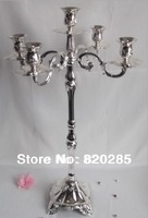 Silver plated centerpiece candelabra, 63cm height floor candle holder, wedding candlestick